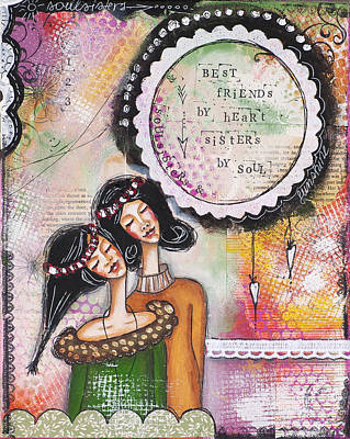 Mixed Media - Best Friends By Heart, Sisters By Soul by Stanka Vukelic