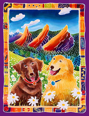 Happy Dog Painting - Best Friends by Harriet Peck Taylor