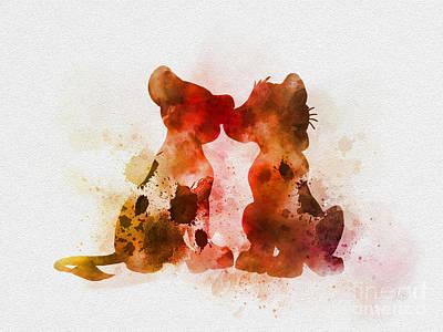 Watercolour Mixed Media - Best Friends by Rebecca Jenkins