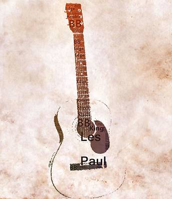 Van Halen Mixed Media - Best Guitarists Typography Warm by Dan Sproul