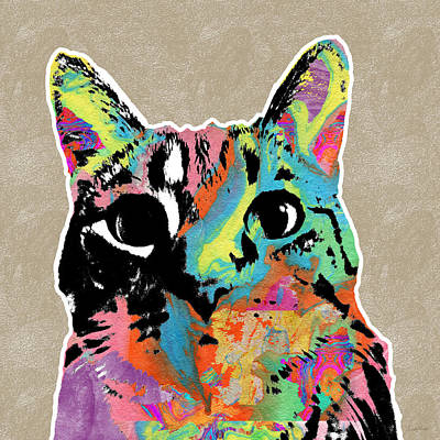 Mixed Media Rights Managed Images - Best Listener Kitty- Pop Art by Linda Woods Royalty-Free Image by Linda Woods