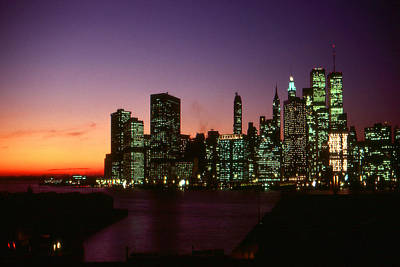 Photograph - Beautiful New York Sunset Skyline by Art America Gallery Peter Potter