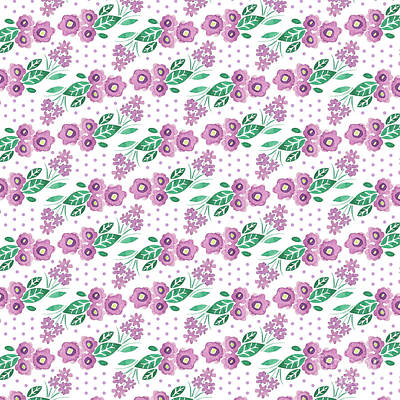 Digital Art - Best Mum Ever Floral Repeat Colourway One Purple White by Laura Thompson