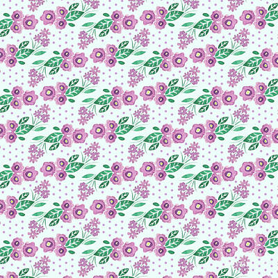 Digital Art - Best Mum Ever Floral Repeat Colourway Two Purple Blue by Laura Thompson