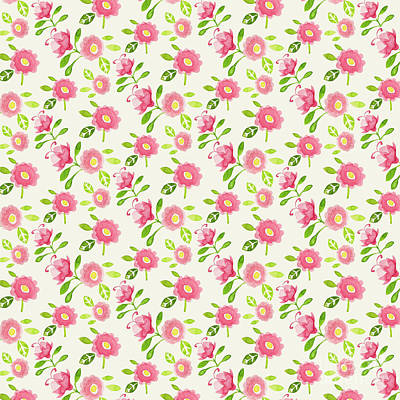 Digital Art - Best Mum Ever Floral Repeat Pink Rose On Cream by Laura Thompson