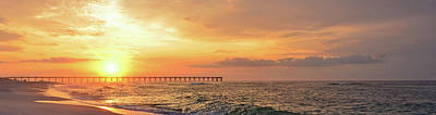 Photograph - Best Sunrise Colors Over Navarre Pier Panoramic by Jeff at JSJ Photography
