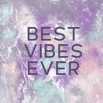 Best Vibes Ever Purple- Art By Linda Woods Art Print