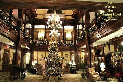 Photograph - Best Western Plus Windsor Hotel Lobby - Christmas by Jerry Battle
