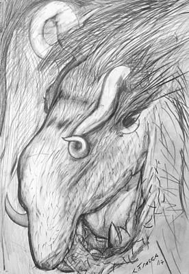 Drawing - Bestia De Cuerno Espiralado. by Claudio Frasca