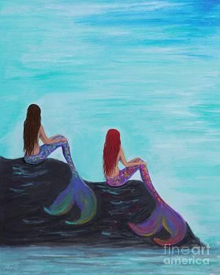 Painting - Bestie Mermaids by Leslie Allen