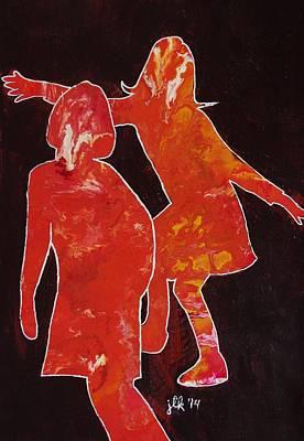 Painting - Besties - Dancing by Lori Kingston
