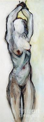 Beth Hanging - Female Nude Art Print by Carolyn Weltman