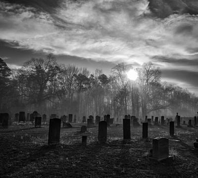 Photograph - Bethany Church Cemetery 02 Bw by Jim Dollar