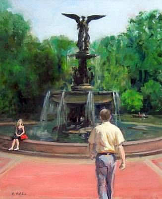 Painting - Bethesda Fountain,central Park by Robert Holden