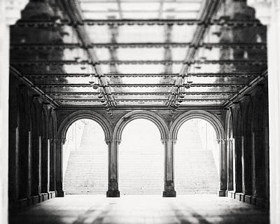 Bethesda Terrace In Black And White Art Print by Lisa Russo