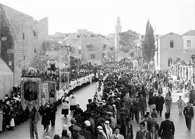 Photograph - Bethlehem Christmas Procession 1934 by Munir Alawi
