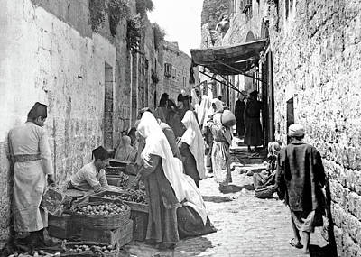Photograph - Bethlehem Fruit Vendors 1900 by Munir Alawi