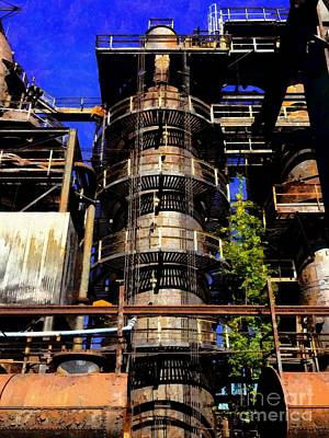 Photograph - Bethlehem Pa - Steel Stacks Black Spirals by J Mogdam Janine Riley