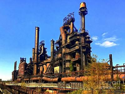 Photograph - Bethlehem Steel Blue Skies by J Mogdam Janine Riley