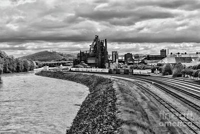 Photograph - Bethlehem Steel Mill And Trains In Black And White by Paul Ward