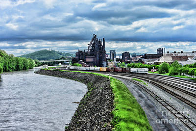 Photograph - Bethlehem Steel Mill And Trains by Paul Ward