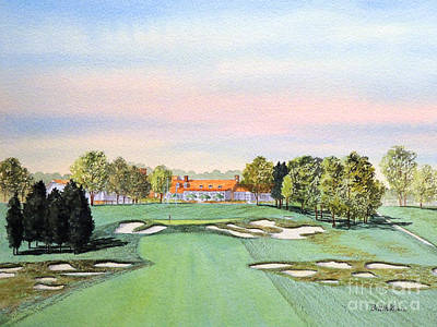 Sports Paintings - Bethpage State Park Golf Course 18th Hole by Bill Holkham