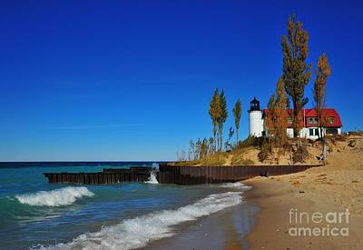All You Need Is Love - Betsie Point Lighthouse on Lake Michigan by Terri Gostola