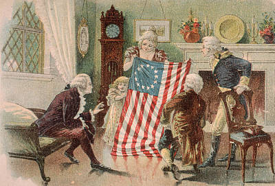 Star Spangled Banner Wall Art - Painting - Betsy Ross And The Making Of America by Unknown artist