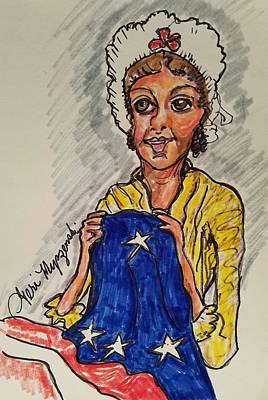July Fourth Drawing - Betsy Ross by Geraldine Myszenski