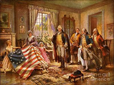 Painting - Betsy Ross Showing Flag To George Washington. by Pg Reproductions