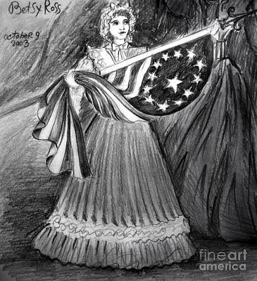 Old Glory Drawing - Betsy Ross With 1st Us Flag by Sofia Metal Queen
