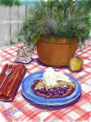 Table Cloth Digital Art - Betsy's Blueberry Pie by Russell Pierce