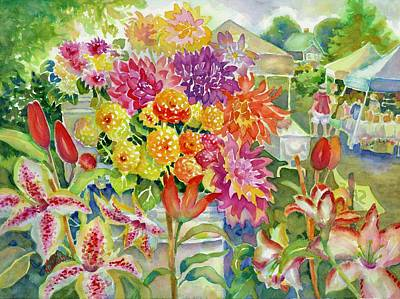Painting - Betsy's Dahlias II by Ann Nicholson
