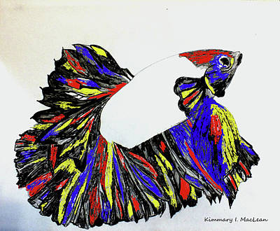 Drawing - Betta Adapted by Kimmary I MacLean