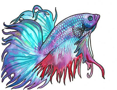 Betta Painting - Betta Fish by Jenn Cunningham