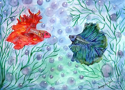 Painting - Betta Magic by Saranya Haridasan
