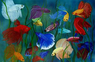 Betta Fish Painting - Bettas In Motion by Debbie LaFrance