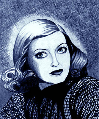 Drawing - Bette Davis In Blue by Tara Hutton