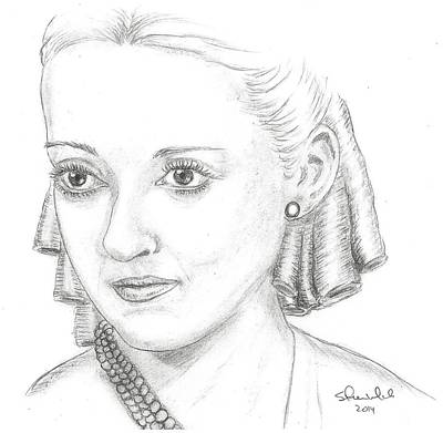 Steven White Drawing - Bette Davis by Steven White