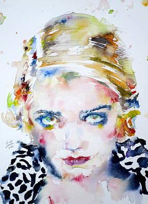 Painting - Bette Davis - Watercolor Portrait by Fabrizio Cassetta