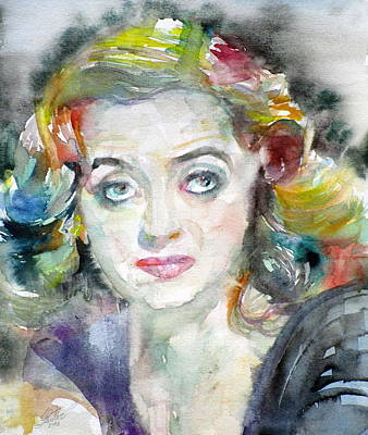 Painting - Bette Davis - Watercolor Portrait.2 by Fabrizio Cassetta
