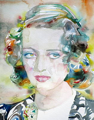Painting - Bette Davis - Watercolor Portrait.3 by Fabrizio Cassetta