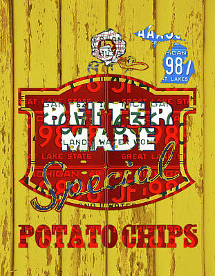 Potato Wall Art - Mixed Media - Better Made Potato Chips Michigan License Plate Art by Design Turnpike