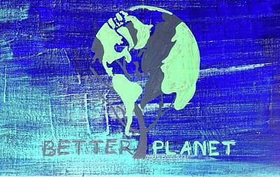 Painting - Better Planet On Blue by Richard Sean Manning