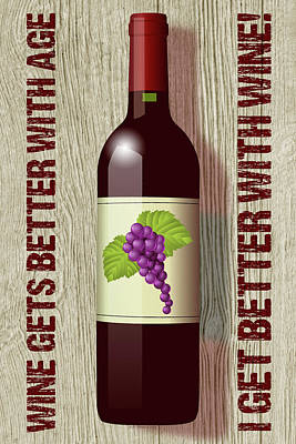 Digital Art - Better With Wine by WB Johnston