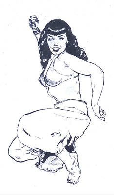 Painting - Bettie Page Harem Girl by Bryan Bustard