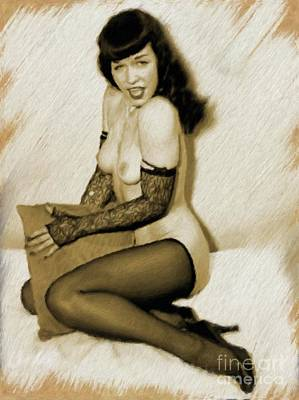 Painting - Bettie Page by Mary Bassett
