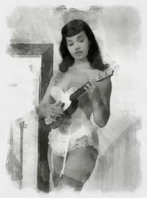 Bettie Page Painting - Bettie Page Sexy Pinup by Esoterica Art Agency
