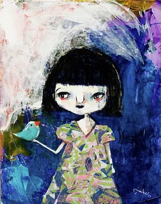Wall Art - Mixed Media - Betty And Blue by Jen Walls