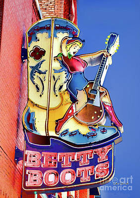 Betty Boots Bar In Nashville, Tennessee Print by Garland Johnson